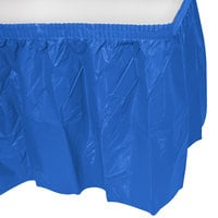 Creative Converting 10046 14' x 29 inch True Blue Plastic Table Skirt