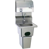 Eagle Group HSA-10-FDPEE-B-T-MG MicroGard Hand Sink with Gooseneck Faucet, Towel Dispenser, Electronic Soap Dispenser, Waste Receptacle, Skirt, and Basket Drain