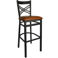 BFM Seating 2130BLBV-SB Akrin Metal Barstool with 2 inch Light Brown Vinyl Seat