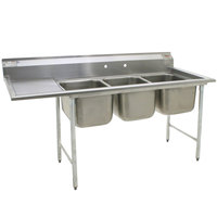 Eagle Group 412-16-3-24 Three 16 inch Bowl Stainless Steel Commercial Compartment Sink with 24 inch Drainboard