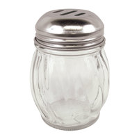 6 oz. Glass Cheese Shaker with Slotted Chrome Top - 3/Pack