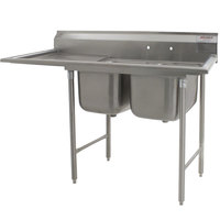 Eagle Group 314-22-2-24 75 inch x 29 3/4 inch Two Bowl Stainless Steel Commercial Compartment Sink with Drainboard