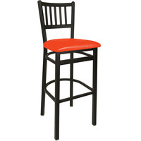 BFM Seating 2090BRDV-SB Troy Sand Black Steel Bar Height Chair with 2 inch Red Vinyl Seat