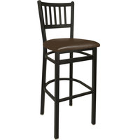 BFM Seating 2090BDBV-SB Troy Sand Black Steel Bar Height Chair with 2 inch Dark Brown Vinyl Seat