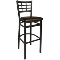 BFM Seating 2163BDBV-SB Marietta Sand Black Steel Bar Height Chair with 2 inch Dark Brown Vinyl Seat
