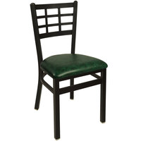 BFM Seating 2163CGNV-SB Marietta Sand Black Steel Side Chair with 2 inch Green Vinyl Seat