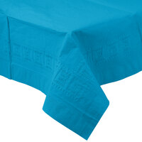 Creative Converting 713131B 54 inch x 108 inch Turquoise Tissue / Poly Table Cover - 6 / Case