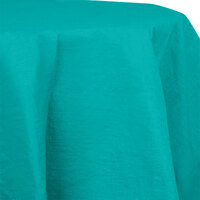 Creative Converting 923270 82 inch Tropical Teal OctyRound Tissue / Poly Table Cover - 12 / Case