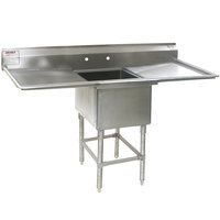 Eagle Group FN2018-1-24-14/3 One 20 inch x 18 inch Bowl Stainless Steel Spec-Master Commercial Compartment Sink with Two 24 inch Drainboards