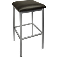 BFM Seating 2510BBLV-SV Trent Silver Steel Barstool with 2 inch Black Vinyl Seat