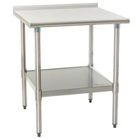 Eagle Group UT2424E 24 inch x 24 inch Stainless Steel Work Table with Undershelf and 1 1/2 inch Backsplash