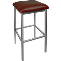 BFM Seating 2510BBUV-SV Trent Silver Steel Barstool with 2 inch Burgundy Vinyl Seat