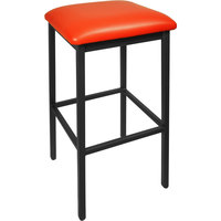 BFM Seating 2510BRDV-SB Trent Sand Black Steel Barstool with 2 inch Red Vinyl Seat