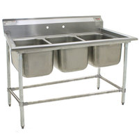 Eagle Group 412-24-3 Three 24 inch Bowl Stainless Steel Commercial Compartment Sink