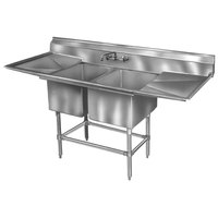 Eagle Group FN2036-2-18-14/3 Two 20 inch x 18 inch Bowl Stainless Steel Spec-Master Commercial Compartment Sink with 18 inch Drainboard