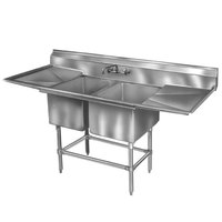 Eagle Group FN2036-2-24-14/3 Two 20 inch x 18 inch Bowl Stainless Steel Spec-Master Commercial Compartment Sink with 24 inch Drainboard