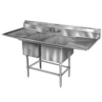 Eagle Group FN2448-2-24-14/3 Two 24 x 24 inch Bowl Stainless Steel Spec-Master Commercial Compartment Sink with 24 inch Drainboard