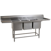 Eagle Group FN2048-3-18-14/3 Three 20 inch x 16 inch Bowl Stainless Steel Spec-Master Commercial Compartment Sink with Two 18 inch Drainboards