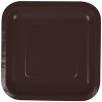 Creative Converting 453038 7 inch Chocolate Brown Square Paper Lunch Plate - 180/Case