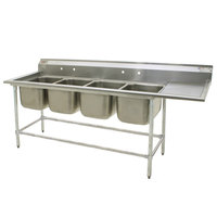 Eagle Group FN2064-4-24-14/3 Four 20 inch x 16 inch Bowl Stainless Steel Spec-Master Commercial Compartment Sink with 24 inch Drainboard