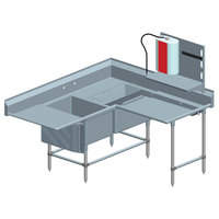 Eagle Group FNPCR2840248T Two 28 inch x 20 inch Bowl Stainless Steel Spec-Master Commercial Corner Compartment Prep Sink with Right Side Prep Area