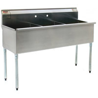 Eagle Group 2160-3-16/4 Three Compartment Stainless Steel Commercial Sink without Drainboard - 61 3/8 inch