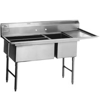 Eagle Group SFN3052-3-14/3 Two 32 inch x 14 inch Sideways and One 20 inch x 30 inch Regular Bowl Stainless Steel Spec-Master Commercial Compartment Sink