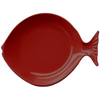 Elite Global Solutions D10FSH Gone Fishin' Cranberry 10 inch Small Melamine Fish Plate