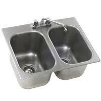 Eagle Group SR22-22-13.5-2 Two Compartment Stainless Steel Drop-In Sink with Deck Mount Faucet and Swing Nozzle - 22 inch x 22 inch x 13 1/2 inch Bowls
