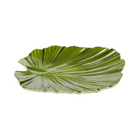 Elite Global Solutions D1110PL Tropicana Design Green 11 inch x 10 inch Palm Leaf Melamine Plate