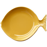 Elite Global Solutions D10FSH Gone Fishin' Yellow 10 inch Small Melamine Fish Plate