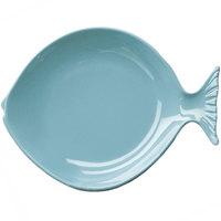 Elite Global Solutions D10FSH Gone Fishin' Aqua 10 inch Small Melamine Fish Plate