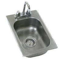 Eagle Group SR22-22-13.5-1 One Compartment Stainless Steel Drop-In Sink with Deck Mount Faucet and Swing Nozzle - 22 inch x 22 inch x 13 1/2 inch Bowl