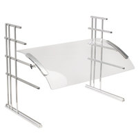 Cal-Mil 1547-4-74 50 1/2 inch Acrylic Curved Rectangular Adjustable Sneeze Guard with Silver Metal Frame
