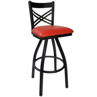 BFM Seating 2130SRDV-SB Akrin Metal Barstool with 2 inch Red Vinyl Swivel Seat