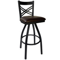 BFM Seating 2130SDBV-SB Akrin Metal Barstool with 2 inch Dark Brown Vinyl Swivel Seat