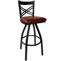 BFM Seating 2130SBUV-SB Akrin Metal Barstool with 2 inch Burgundy Vinyl Swivel Seat