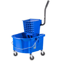Continental 226-312BLW 26 Qt. Blue Splash Guard Mop Bucket with Side-Press Wringer