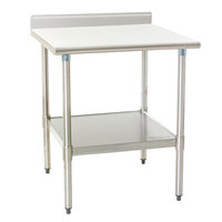 Eagle Group T2436EB-BS 24 inch x 36 inch Stainless Steel Work Table with Galvanized Undershelf and 4 1/2 inch Backsplash