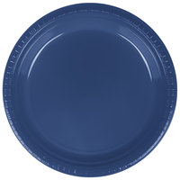 Creative Converting 28113721 9 inch Navy Blue Plastic Dinner Plate - 20 / Pack