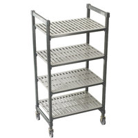 Cambro Camshelving Premium CPMU243667V4480 Mobile Shelving Unit with Premium Locking Casters 24 inch x 36 inch x 67 inch - 4 Shelf