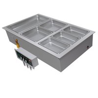 Hatco HWBI-2MA Two Compartment Modular / Ganged Drop In Hot Food Well with 1 inch Manifold Drain and Auto-Fill