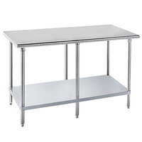 14 Gauge Advance Tabco GLG-3010 30 inch x 120 inch Stainless Steel Work Table with Galvanized Undershelf