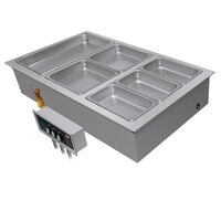 Hatco HWBI-3DA Three Compartment Modular / Ganged Drop In Hot Food Well with 3/4 inch NPT Drain and Auto-Fill