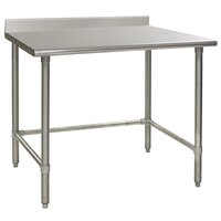 Eagle Group T3648GTEM-BS 36 inch x 48 inch Open Base Stainless Steel Commercial Work Table with 4 1/2 inch Backsplash