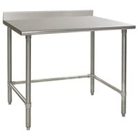 Eagle Group T3660STEM-BS 36 inch x 60 inch Open Base Stainless Steel Commercial Work Table with 4 1/2 inch Backsplash