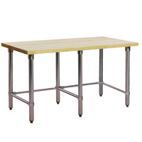 Eagle Group MT3096ST Wood Top Work Table with Stainless Steel Base - 30 inch x 96 inch