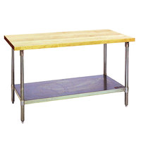 Eagle Group MT2460S Wood Top Work Table with Stainless Steel Base and Undershelf - 24 inch x 60 inch