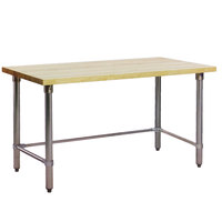 Eagle Group MT2472GT Wood Top Work Table with Galvanized Base - 24 inch x 72 inch