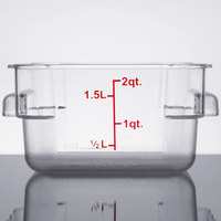 2 Qt. Clear Square Polycarbonate Food Storage Container with Red Gradations
